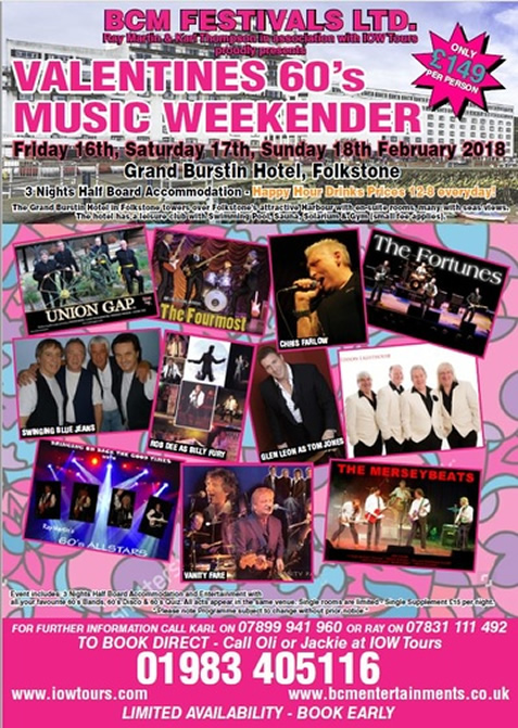 Valentines 60's Music weekend